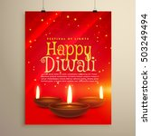 beautiful red flyer for diwali... | Shutterstock .eps vector #503249494