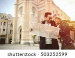 tourist couple  in love... | Shutterstock . vector #503252599