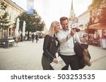 tourist couple enjoying... | Shutterstock . vector #503253535