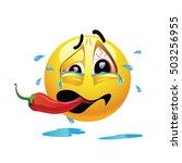 very hot chili pepper causing... | Shutterstock .eps vector #503256955