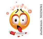 very hot chili pepper causing... | Shutterstock .eps vector #503256961