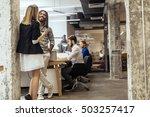 business colleagues talking in...   Shutterstock . vector #503257417