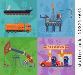oil industry square banners... | Shutterstock .eps vector #503257645