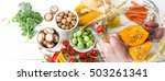 balanced diet food concept.... | Shutterstock . vector #503261341