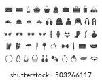 black icons accessories  bags ... | Shutterstock .eps vector #503266117
