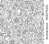 cartoon cute hand drawn cinema... | Shutterstock .eps vector #503270101