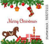 Merry Christmas Postcard With...