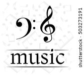 music poster with treble clef... | Shutterstock .eps vector #503273191