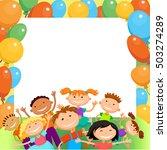 children are jumping ob summer...   Shutterstock .eps vector #503274289
