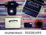 desk work retro tool | Shutterstock . vector #503281495