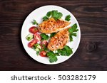 grilled chicken breast and... | Shutterstock . vector #503282179