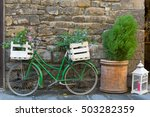 Old Styled Bicycle In Green...