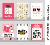 set of 6 cute creative cards... | Shutterstock .eps vector #503288629
