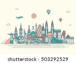 travel and tourism background.... | Shutterstock .eps vector #503292529