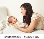 mother with baby portrait ... | Shutterstock . vector #503297107