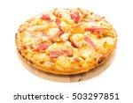 pizza hawaiian seafood on... | Shutterstock . vector #503297851