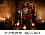 old medieval king on the throne ... | Shutterstock . vector #503301535