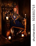medieval king on the throne in... | Shutterstock . vector #503301715