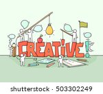 cartoon working little people... | Shutterstock .eps vector #503302249