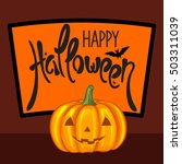 happy halloween greeting card.... | Shutterstock .eps vector #503311039