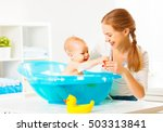 happy family mother bathes the...   Shutterstock . vector #503313841