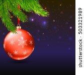 christmas balls with green fir... | Shutterstock .eps vector #503321989