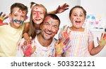 portrait of a cute happy father ... | Shutterstock . vector #503322121