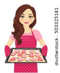 cute woman holding baking tray... | Shutterstock .eps vector #503325181
