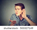 hard of hearing man placing... | Shutterstock . vector #503327149