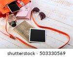 view on women bag stuff on... | Shutterstock . vector #503330569