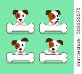 Stock vector cartoon character jack russell terrier dog with big bones 503332075
