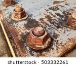 rusty old industrial screw nut... | Shutterstock . vector #503332261