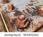 rusty old industrial screw nut... | Shutterstock . vector #503332261