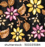 seamless pattern of decorative... | Shutterstock .eps vector #503335084