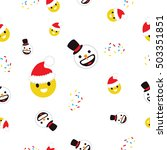 christmas emoticon seamless... | Shutterstock .eps vector #503351851