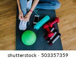 girl in a gym  sports equipment ... | Shutterstock . vector #503357359