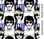 fashion girl seamless pattern.... | Shutterstock .eps vector #503371519