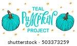 food allergy pumpkin   a teal... | Shutterstock .eps vector #503373259