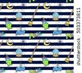 halloween patch badges pattern. ... | Shutterstock .eps vector #503373811