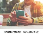 young man with smartphone in... | Shutterstock . vector #503380519