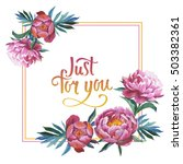 wildflower peony flower frame... | Shutterstock . vector #503382361