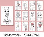 calendar 2017. cute rabbits for ... | Shutterstock .eps vector #503382961
