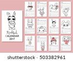 calendar 2017. cute rabbits for ... | Shutterstock .eps vector #503382961