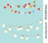 garland lights and flags on... | Shutterstock .eps vector #503385361