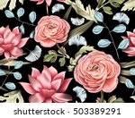 seamless tropical flower  plant ... | Shutterstock . vector #503389291