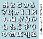 smudge calligraphy alphabet.... | Shutterstock .eps vector #503397679