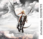 dragon rider  blonde female... | Shutterstock . vector #503398795