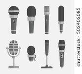 Microphones Vector Set In A...