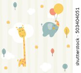 cute giraffe and baby elephant... | Shutterstock .eps vector #503404051
