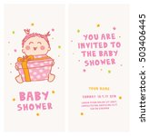 baby shower invitation cute girl | Shutterstock .eps vector #503406445